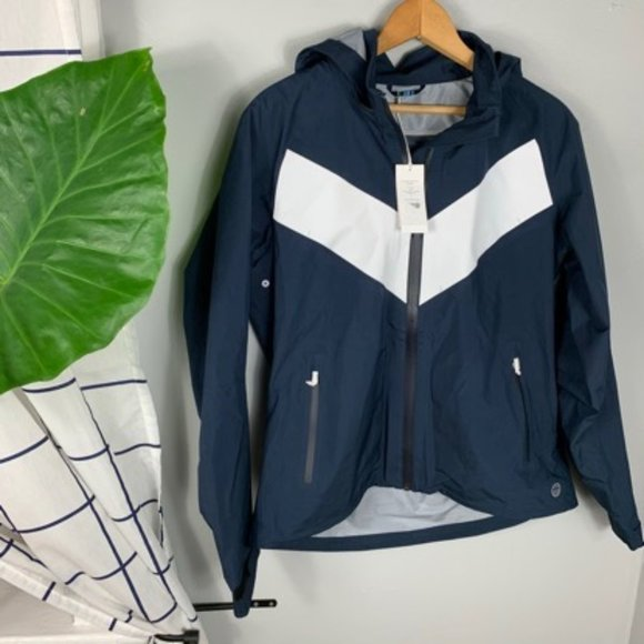 NWT Tory Burch Full Zip Rain Jacket Blue & White